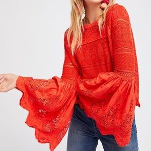 Free People once upon a time crochet bell slv top